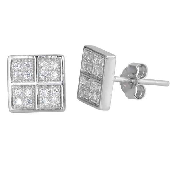 Sterling Silver Micropave CZ Square Stud Earrings