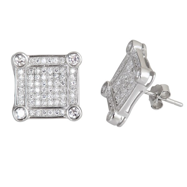 Sterling Silver Micropave Cubic Zirconia Square Studs