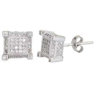 Sterling Silver Square Micropave Stud Cubic Zirconia Earrings