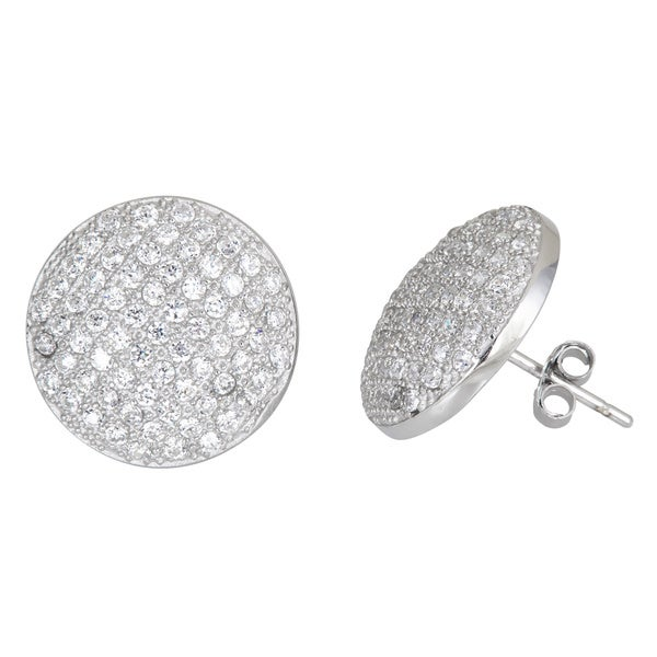 Sterling Silver Micropave Stud Cubic Zirconia Disc Earrings