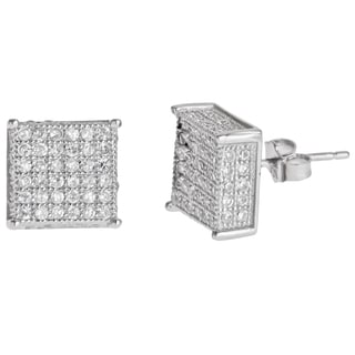 Sterling Silver Micro-pave Stud Cubic Zirconia Square Earrings
