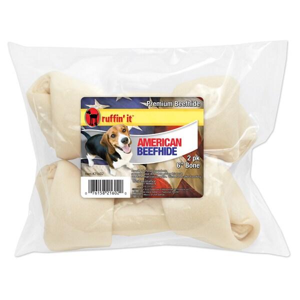 "American Beefhide 6-7"" Flat Knot Bone 2/Pkg-"