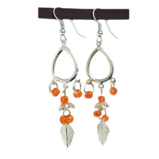 Tiara Global Leaf Motif Beaded Dangle Earrings
