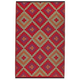 Saman Orange/ Violet Area Rug (4' x 6')