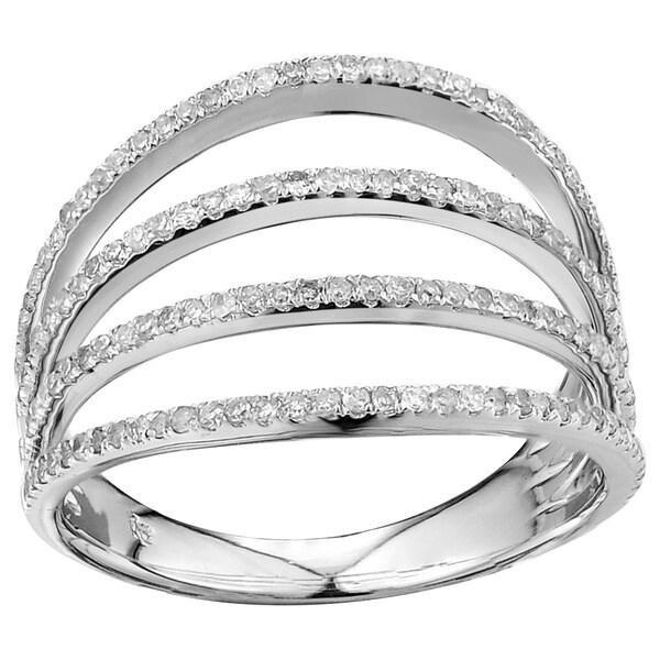 10k White Gold 1/2ct TDW Four-band Diamond Ring (G-H, I2-I3)