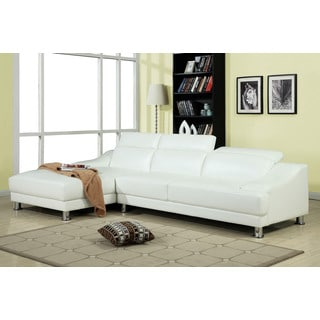 Ohn Sectional Sofa in White Bonded Leather