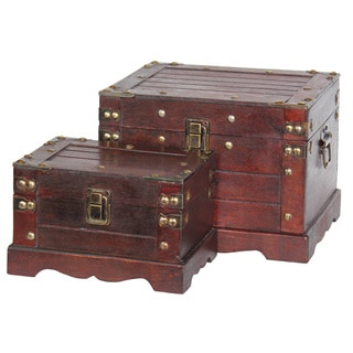 Old Style Wooden Chests (Set of Two)