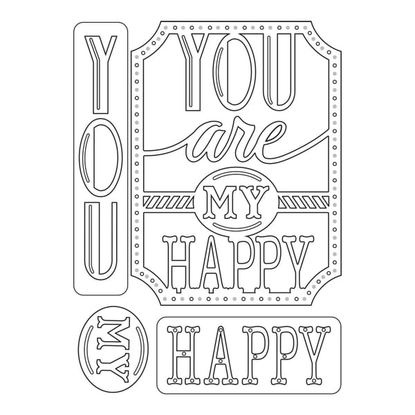 Sizzix Thinlits Dies 4/Pkg-You Are My Happy Phrase