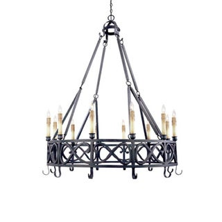 Chaumont Scrolled Iron 12-light Textured Rust Chandelier