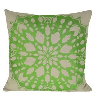 Rangoli 20-inch Green Feather-filled Throw Pillow