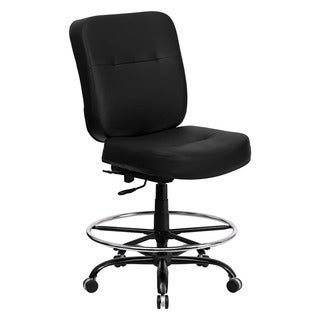 Offex Hercules Series Big and Tall Black Leather Drafting Stool with Extra Wide Seat, Armless
