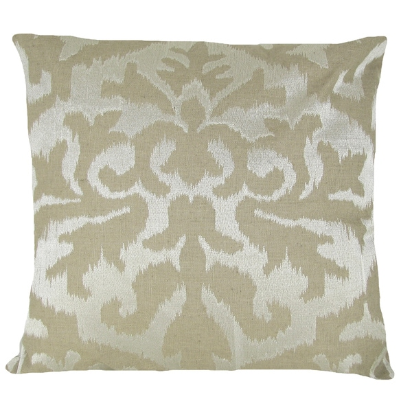 Ikat Detail 20-inch Ivory Feather-filled Throw Pillow