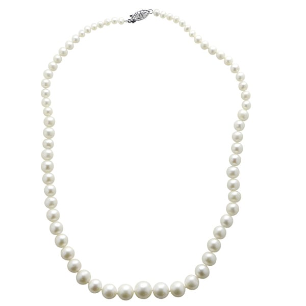 Pearls For You 18-inch Sterling Silver White Graduated Freshwater Pearl Necklace (4-11 mm)