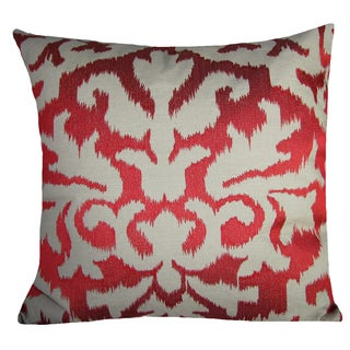 Ikat Detail Red 20-inch Decorative Feather Filled Throw Pillow