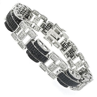 Sterling Silver Men's Black and White Cubic Zirconia Bracelet