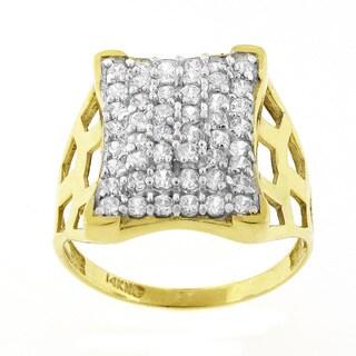 14k Yellow Gold Men's Cubic Zirconia Ring