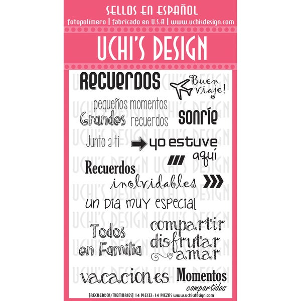 "Uchi's Design Spanish Clear Stamp Set 4""X6"" Sheet-Memories (Recuerdos)"