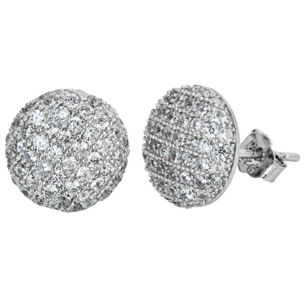 Sterling Silver Micropave CZ Circle Stud Earrings