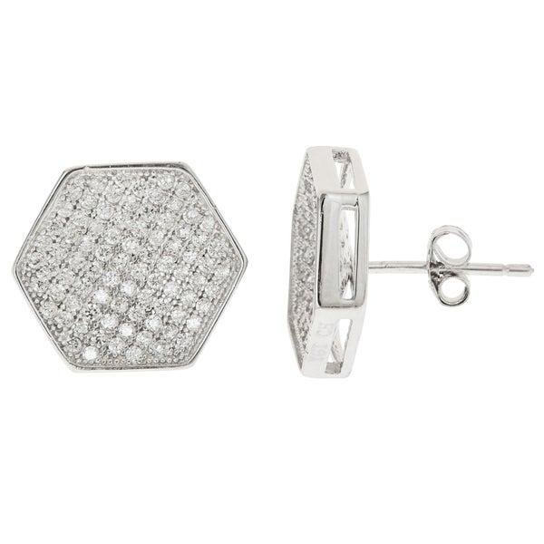 Sterling Silver Micropave CZ Geometric Stud Earrings