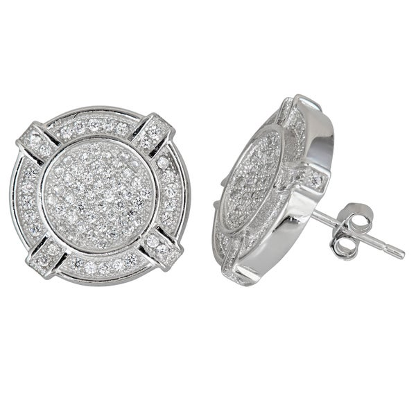 Sterling Silver Micropave CZ Fancy Round Studs