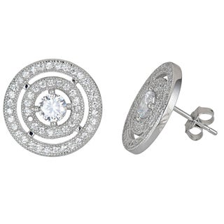 Decadence Sterling Silver CZ Double Hal Round Cut Stud Earrings
