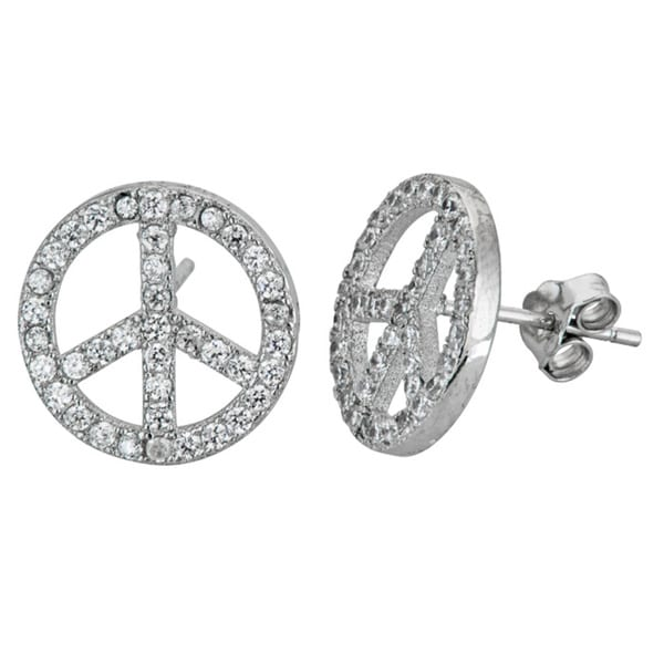 Sterling Silver Micropave CZ Peace Stud Earrings