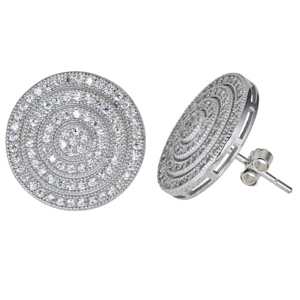 Sterling Silver Micropave CZ Circular Disc Earrings