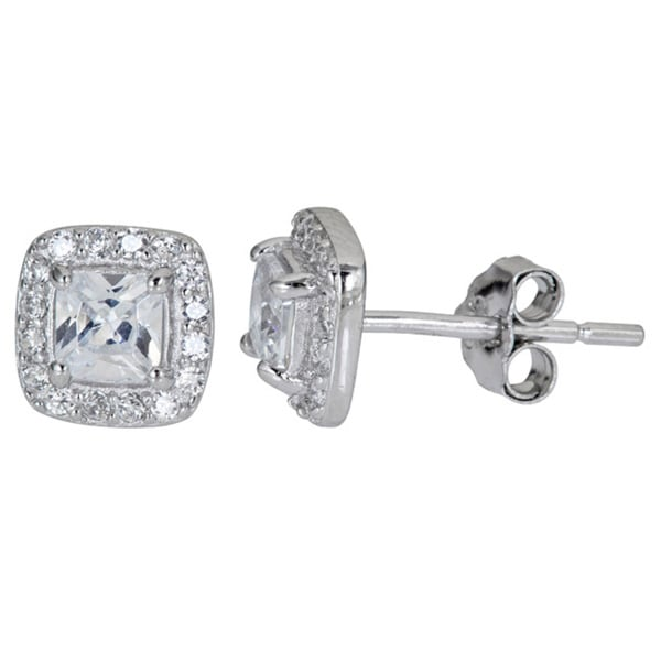 Sterling Silver Cushion Cut CZ Stud Earrings