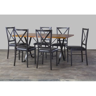Baxton Studio Isley Wood and Metal 7-Piece Contemporary Dining Set