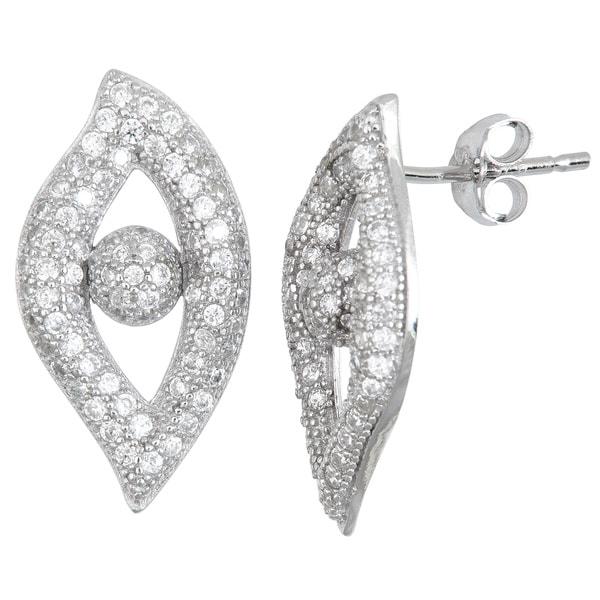 Sterling Silver Cubic Zirconia Eye Micropave Stud Earrings