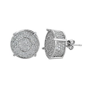 Sterling Silver Cubic Zirconia Micropave Fancy Round Stud Earrings
