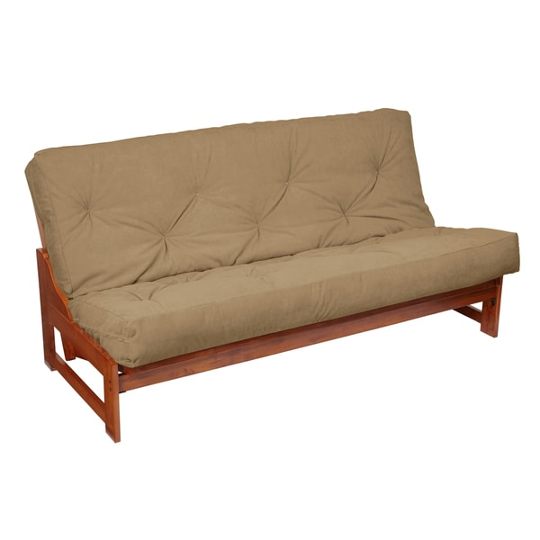 Gel Pocket Coil Full Size 10-inch Khaki Suede Futon Mattress