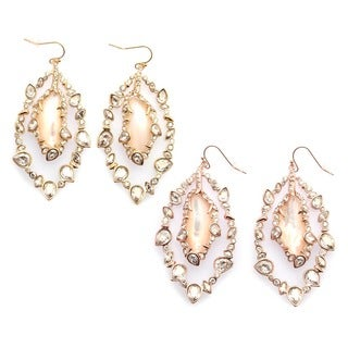 De Buman 14k Goldplated Mother of Pearl and Crystal Dangle Earrings