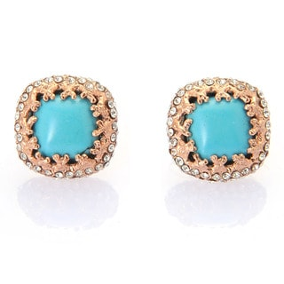 De Buman 18k Rose Goldplated or 18k Yellow Goldplated Turquoise and White Czech Earrings