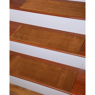 Natural Area Rugs Hand-crafted Synergy Gold Carpet Stair Treads ('9 x 2'5) (Set of 13) with Landing Mat (2'5 x 3'4)