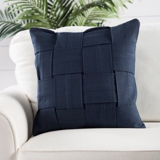 Handmade Cotton Blue 18-inch Throw Pillow