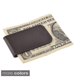 Zodaca Plain Black/ Brown Genuine 100% Leather Magnetic Slim Wallet Pocket Money Clip Holder
