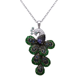 Beverly Hills Charm 14k White Gold 1/4ct. TDW White, Blue Diamonds, Multi Color Gemstones Peacock Necklace (H-I, I2-I3)