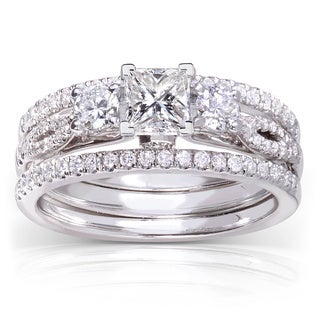 Annello 14k White Gold 1ct TDW Princess-cut 3-piece Diamond Bridal Set (H-I, I1-I2) with Bonus Item