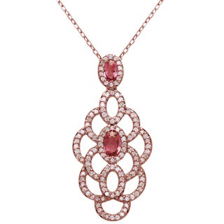 Beverly Hills Charm 14k Rose Gold 3/4ct TDW Diamond, Pink Sapphire Necklace (H-I, I2-I3)
