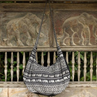 Cotton 'Thai Fantasy in Black and White' Shoulder Bag (Thailand)