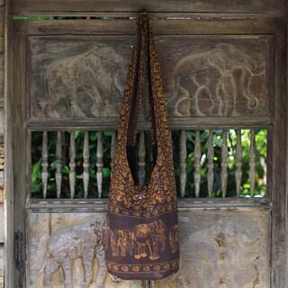 Handcrafted Cotton 'Brown Siam' Shoulder Bag (Thailand)