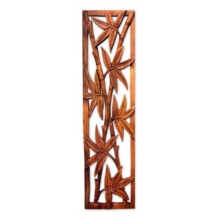 Handcrafted Suar Wood 'Bamboo Forest' Relief Panel, Handmade in Indonesia