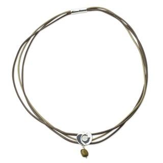 Sterling Silver Cotton 'Integration' Tiger's Eye Bracelet (Mexico)