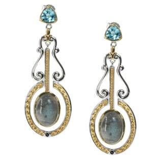 Michael Valitutti Palladium Silver Labradorite And Topaz Earrings