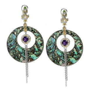 Michael Valitutti Palladium Silver Abalone, Amethyst And Chrome Diopside Earrings