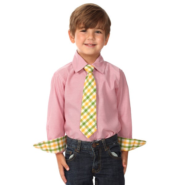 Future Trillionaire Boys Light Red Cotton Shirt and Tie Set
