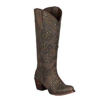 Lane Boots Women's Brown Leather Studded Cowboy Boots