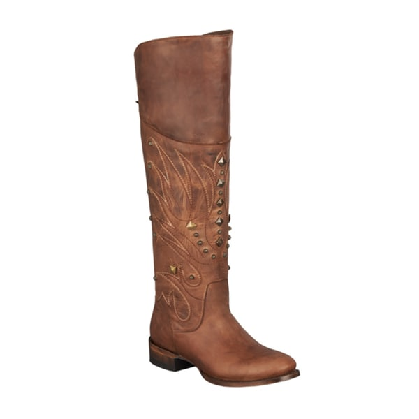 Lane Boots 'Manchester' Brown Leather Studded Cowboy Boots