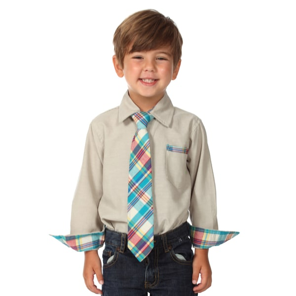 Future Trillionaire Boys Grey Plaid Cotton Shirt and Tie Set